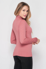 Right side image of Seamless Fitted Mock Neck Cable Knit Top