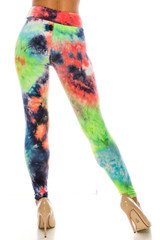 Double Brushed Summer Yellow Tie Dye High Waisted Leggings - Plus Size