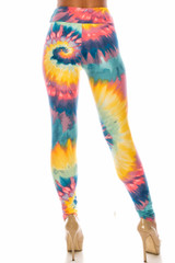 Multi-Color-Bold Tie Dye High Waisted Double Brushed Leggings