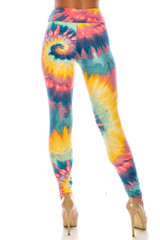 Double Brushed Multi-Color-Bold Tie Dye High Waisted Leggings - Plus Size