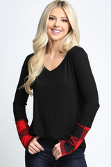 Red Plaid Cuff Solid Contrast V Neck Long Sleeve Top