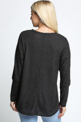 Charcoal Solid Long Sleeve Dolman Top - Plus Size