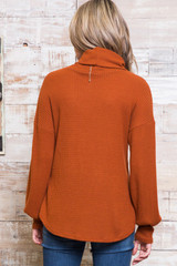 Rust Waffle Knit Cowl Neck Long Sleeve Top - Plus Size