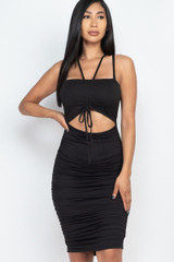 Ruched Drawstring Front Cut Out Double Strap Bodycon Midi Dress