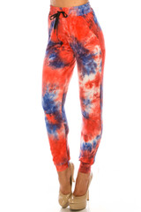 Double Brushed Red and Blue Tie Dye Joggers
