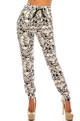 Double Brushed White Layers of Skulls Joggers