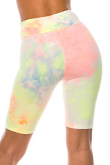 Double Brushed Pastel Tie Dye High Waisted Plus Size Biker Shorts - 3 Inch Waist