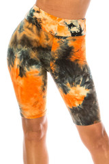 Double Brushed Tie Dye High Waisted Plus Size Biker Shorts - 3 Inch Waist