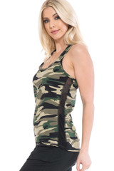 Green Camouflage Racerback Workout Tank Top