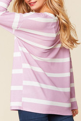 Long Sleeve Lilac and White Striped Round Neck Top - Plus Size