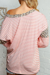 Blush Pink Striped Leopard Print Accent Long Sleeve V-Neck Top - Plus Size