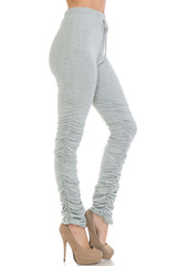 Premium Side Ruched Stacked Leggings - Plus Size - Made in the USA