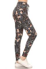 Double Brushed Peachy Floral Blossom Joggers