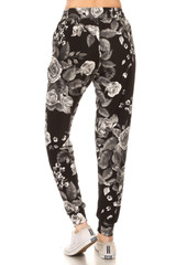 Buttery Soft Monochrome Rose Joggers - Plus Size