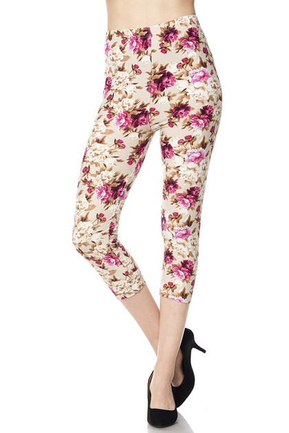 Buttery Soft Pearly Spring Floral Capris