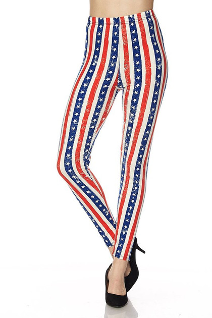 Buttery Soft Vertical Stars and Stripes Leggings