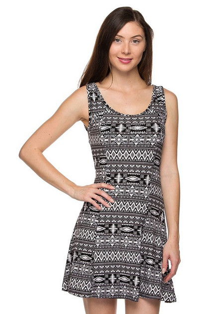 Double Brushed Ancient Tribal Fit and Flare Dress