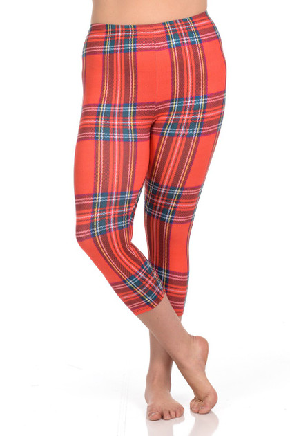 Brushed Graphic Print Everyday Red Plaid Capris - Plus Size