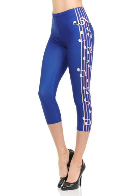 Brushed Graphic Print Blue Music Note Capris