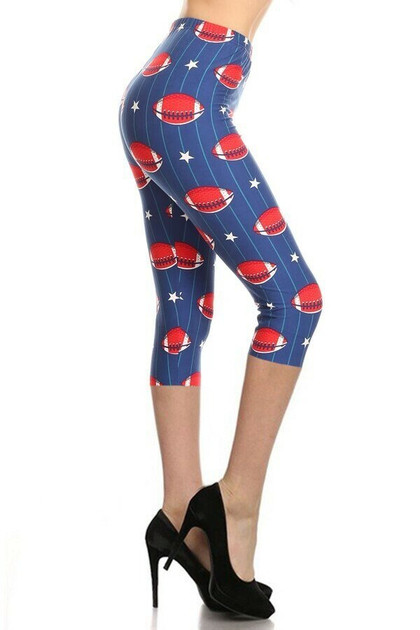 Buttery Soft Football Capris - Plus Size - LIMITED EDITION