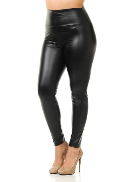 High Waisted Matte Faux Leather Leggings - Plus Size
