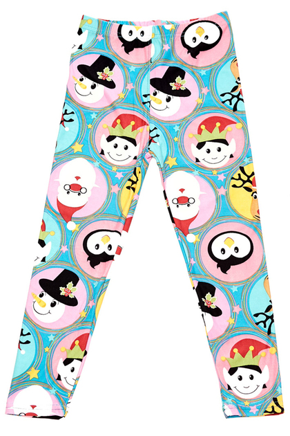 Double Brushed Cute Christmas Faces Kids Leggings
