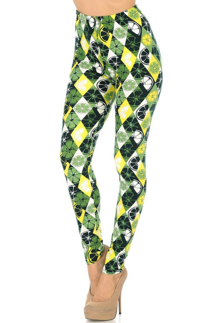Double Brushed Luck of the Irish Lime Leggings - Plus Size