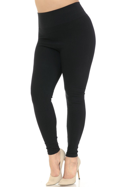 High Waisted Cotton Leggings - Plus Size