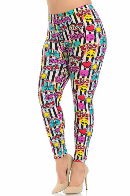 Double Brushed Stripes Love and Kisses Leggings - Plus Size