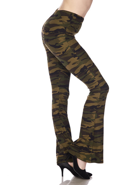 Green Camouflage Bell Bottom Double Brushed Leggings
