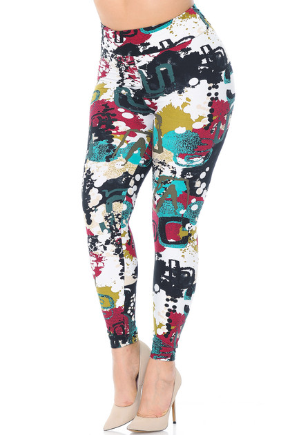 Double Brushed Summer Picasso High Waisted Leggings - Plus Size