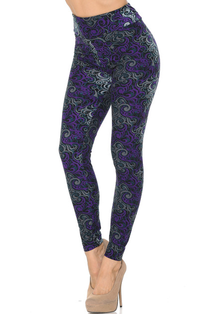 Buttery Soft Purple Tangled Swirl High Wasited Leggings