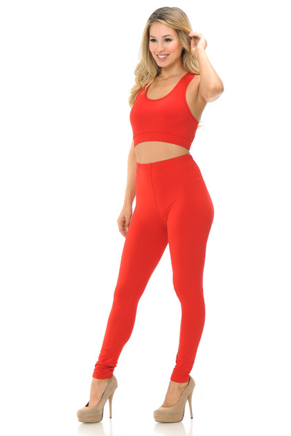 Buttery Soft Basic Solid Leggings and Bra Set