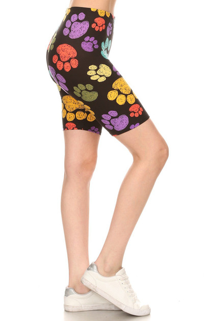 Buttery Soft Colorful Paw Print Shorts