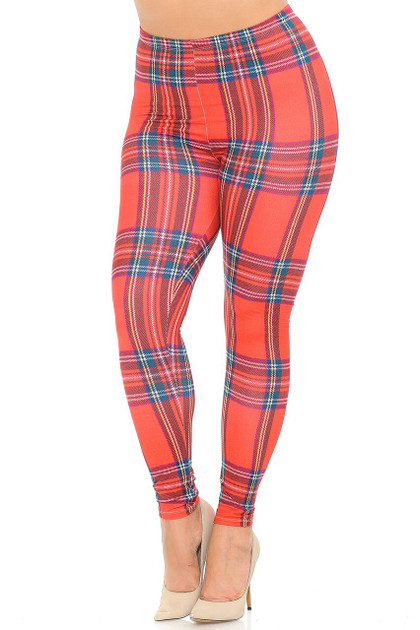 Double Brushed Red Plaid Leggings - Plus Size
