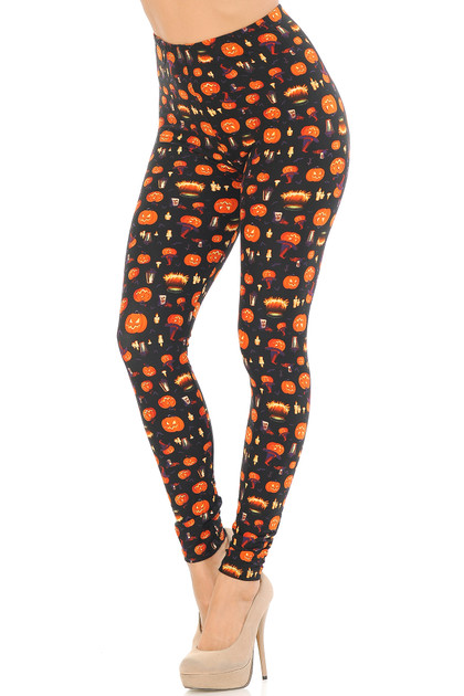 Pumpkins Cauldrons and Candles Halloween Double Brushed Leggings