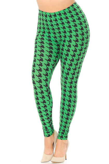Buttery Soft Houndstooth Leggings - Extra Plus Size - 3X-5X