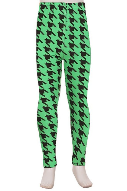 Double Brushed Green Houndstooth Kids Leggings
