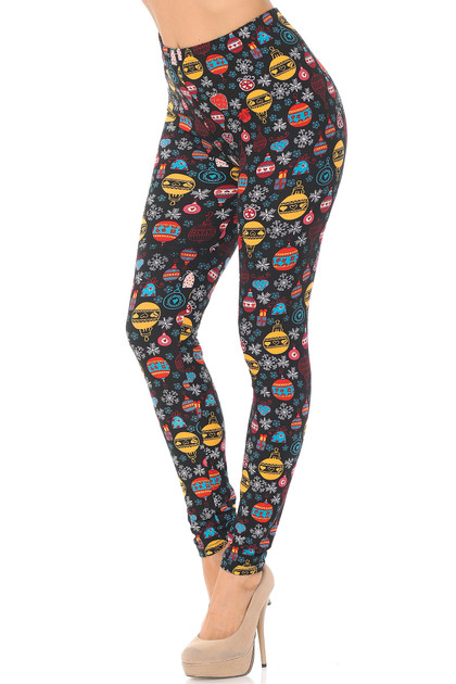 Double Brushed Colorful Hanging Christmas Ornaments Leggings - Extra Plus Size - 3X-5X