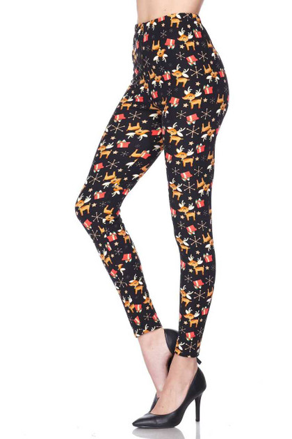 Buttery Soft Presents and Baby Reindeer Christmas Leggings - Plus Size