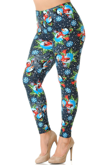 Double Brushed Frosty Blue Snowman Christmas Leggings - Extra Plus Size - 3X-5X