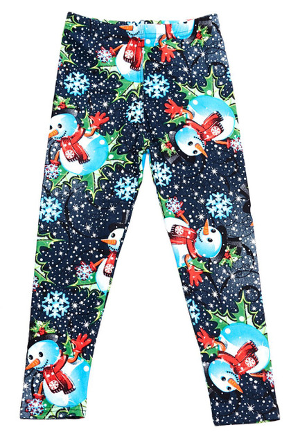 Double Brushed Frosty Blue Snowman Christmas Kids Leggings