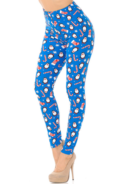 Icy Blue Christmas Penguins Double Brushed Leggings