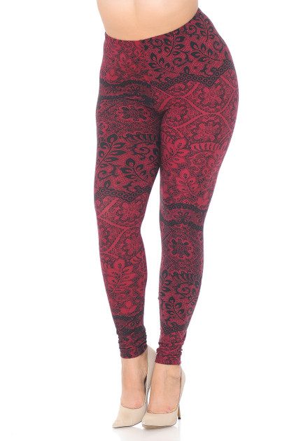 Buttery Soft Rouge Leaf Leggings - Plus Size