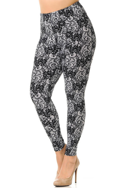 Buttery Soft Sassy Lace Print Leggings - Plus Size