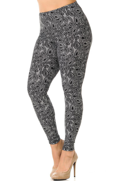 Double Brushed Floral Netted Petal Leggings - Plus Size