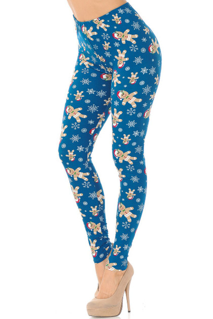 Double Brushed Christmas Cookies and Snowflakes Leggings - Plus Size