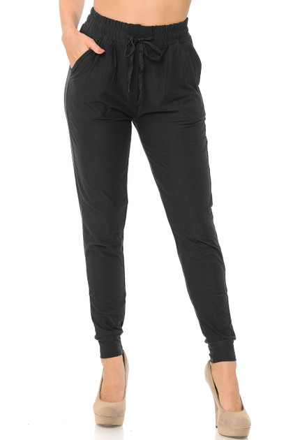 Double Brushed Solid Basic Women's Joggers - EEVEE