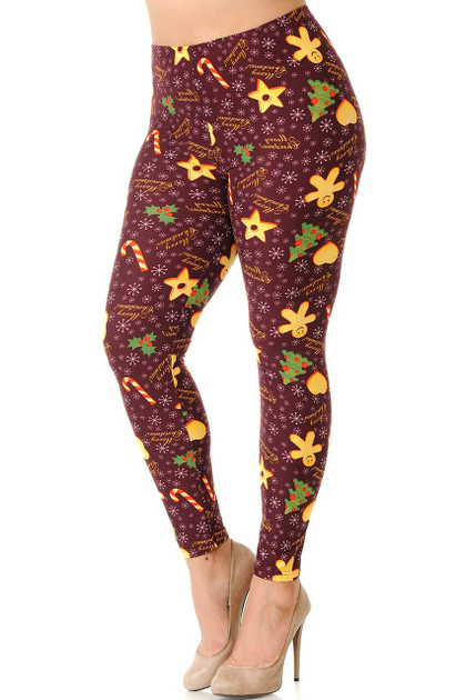 Double Brushed Merry Christmas Treats and Cookies Leggings - Plus Size