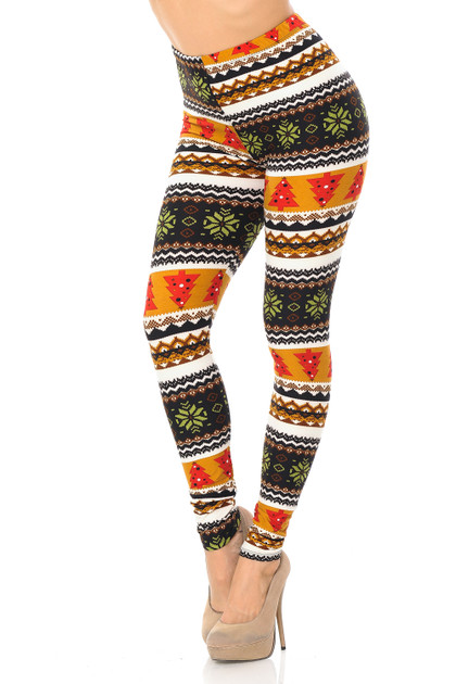 Christmas Tree and Snowflake Double Brushed Leggings
